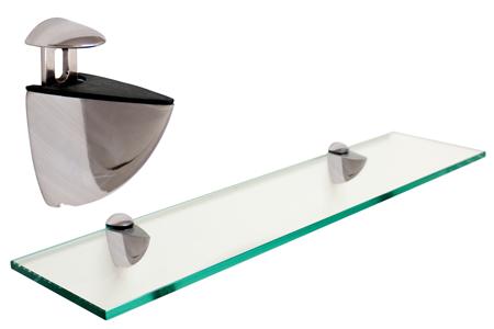 rectangle floating glass shelf 6 x 27 w brushed nickel brackets. Black Bedroom Furniture Sets. Home Design Ideas
