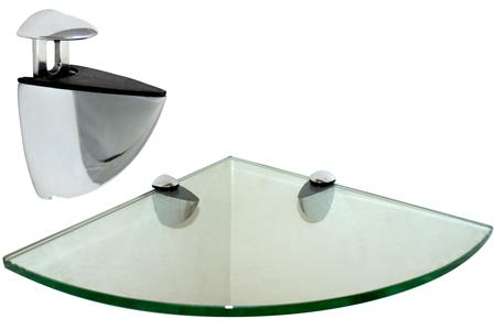 Corner Floating Glass Shelf 16 x 16 w/Chrome Brackets