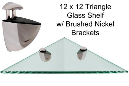Triangle Glass Shelf 12 X 12 W Brushed Nickel Brackets