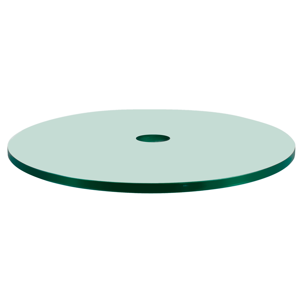 60 Inch Round Glass Table Top, 1/4 Inch Thick, Flat Polish Edge, Tempered Glass with Center Hole
